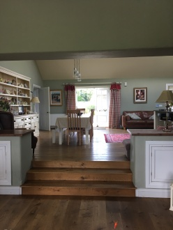 The stunning raised kitchen level at the Todd's house, in Farrow &Ball French Grey